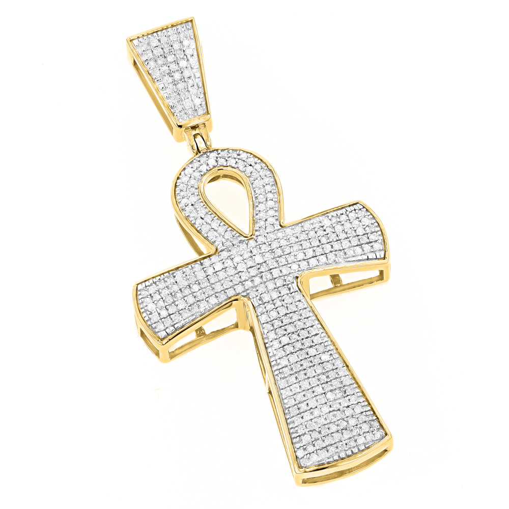 10K Gold Iced Out Egyptian Ankh Cross Diamond Symbol of Life Pendant 0.85ct