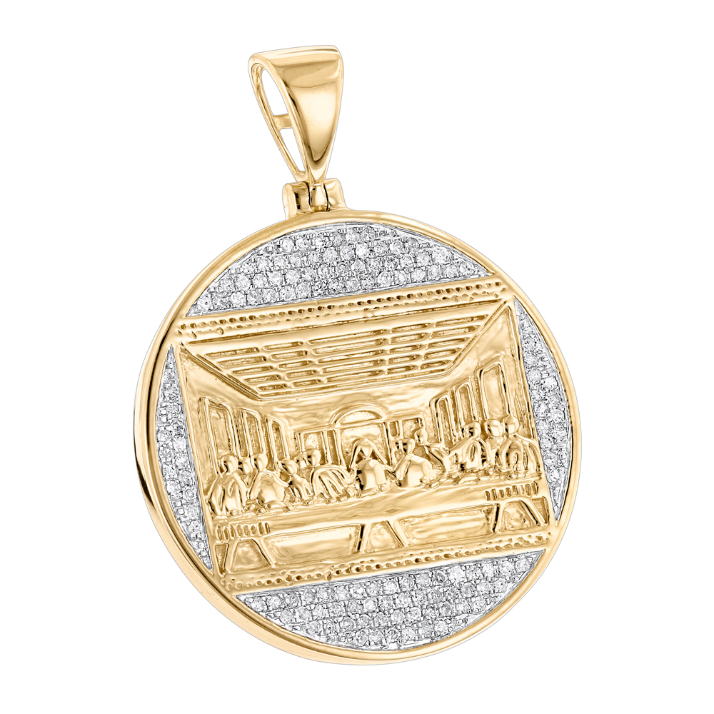 10K Gold Last Supper Diamond Pendant for Men Medallion by Luxurman Yellow Image