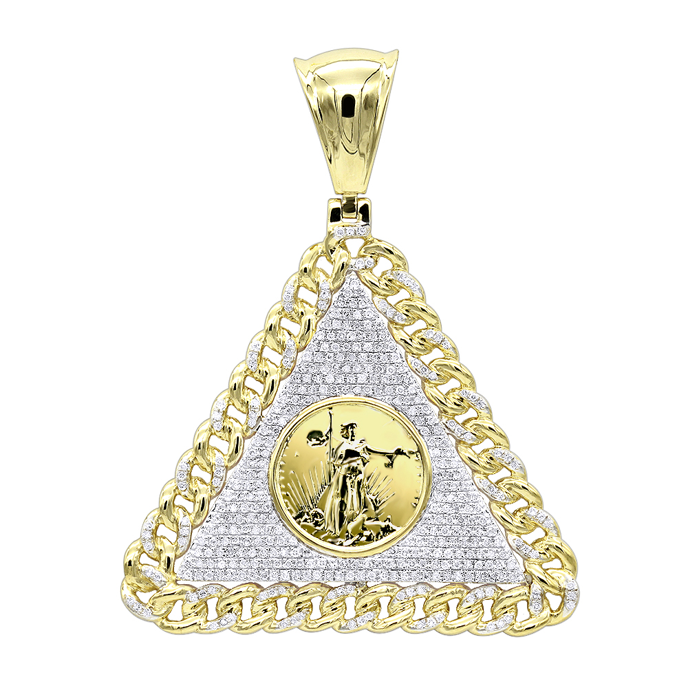 10K Gold Liberty Coin Cuban Link Triangle Diamond Pendant for Men 1.05ct Yellow Image