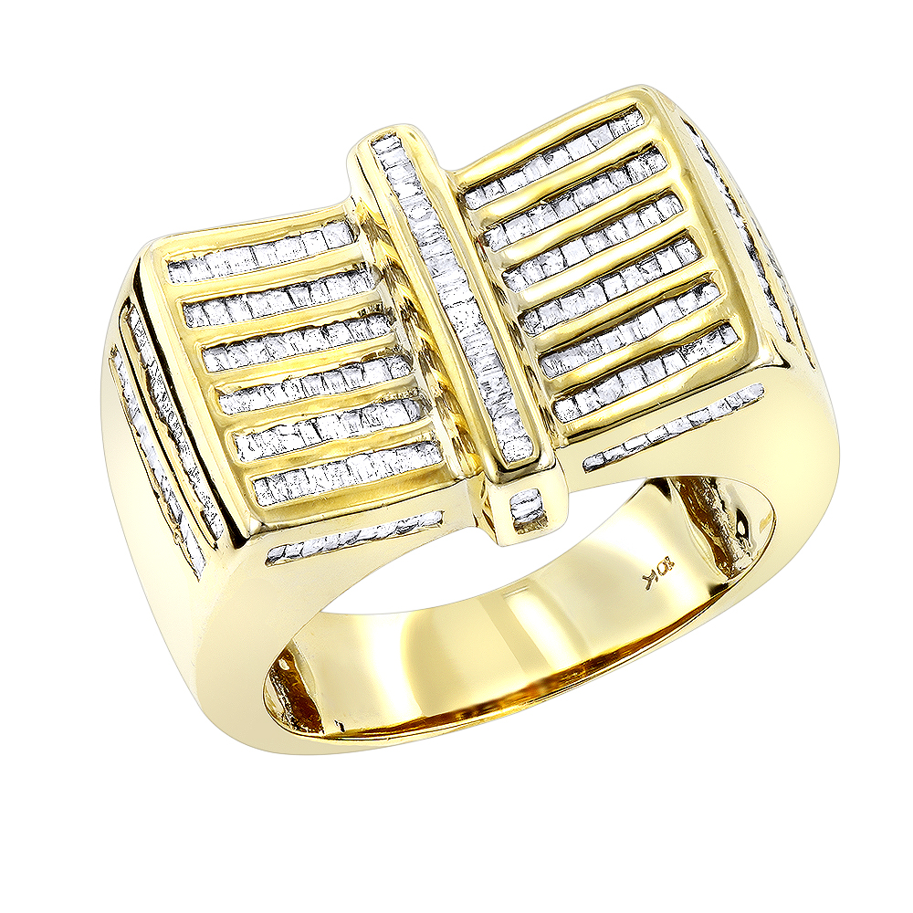 b798920cc0c5c 10K Gold Mens Baguette Diamond Ring 1.25ct