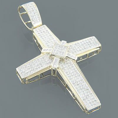 10K Gold Mens Cross Pendant with Diamonds 1.83ct Main Image