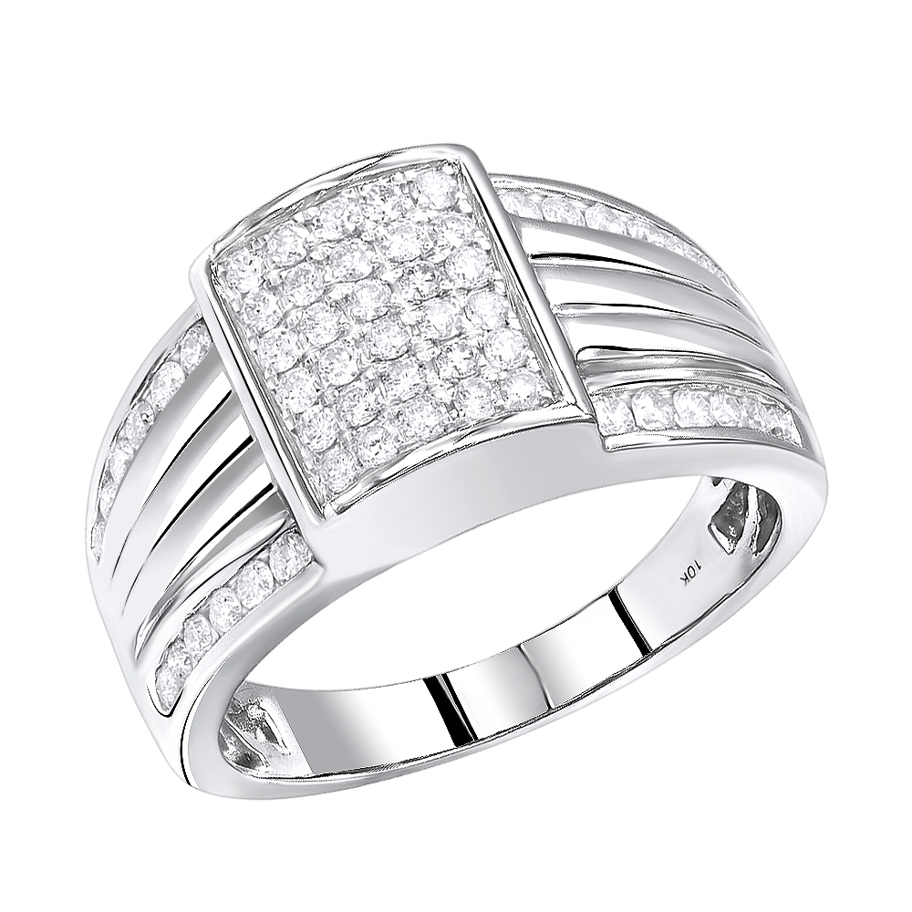 10K Gold  Mens Diamond Pinky Ring 1 Carat by Luxurman