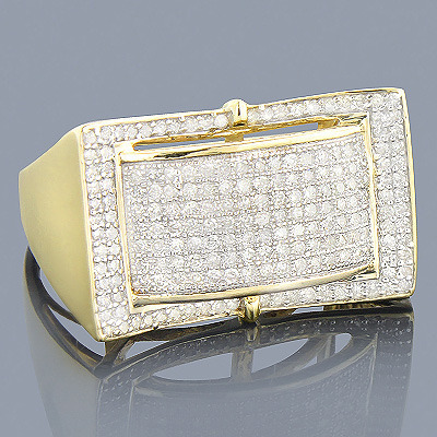10K Gold Mens Diamond Ring 0.91ct
