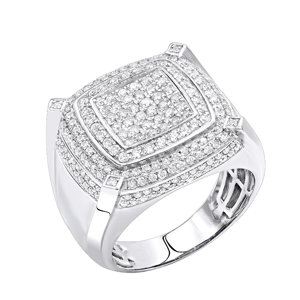 10K Gold Mens Diamond Ring 1.85ct by Luxurman Pinky Ring White Image