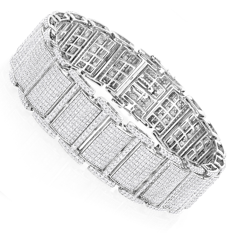 Real Diamond 10K Gold Mens Iced Out Bracelets Collection Piece 13.5ct White Image