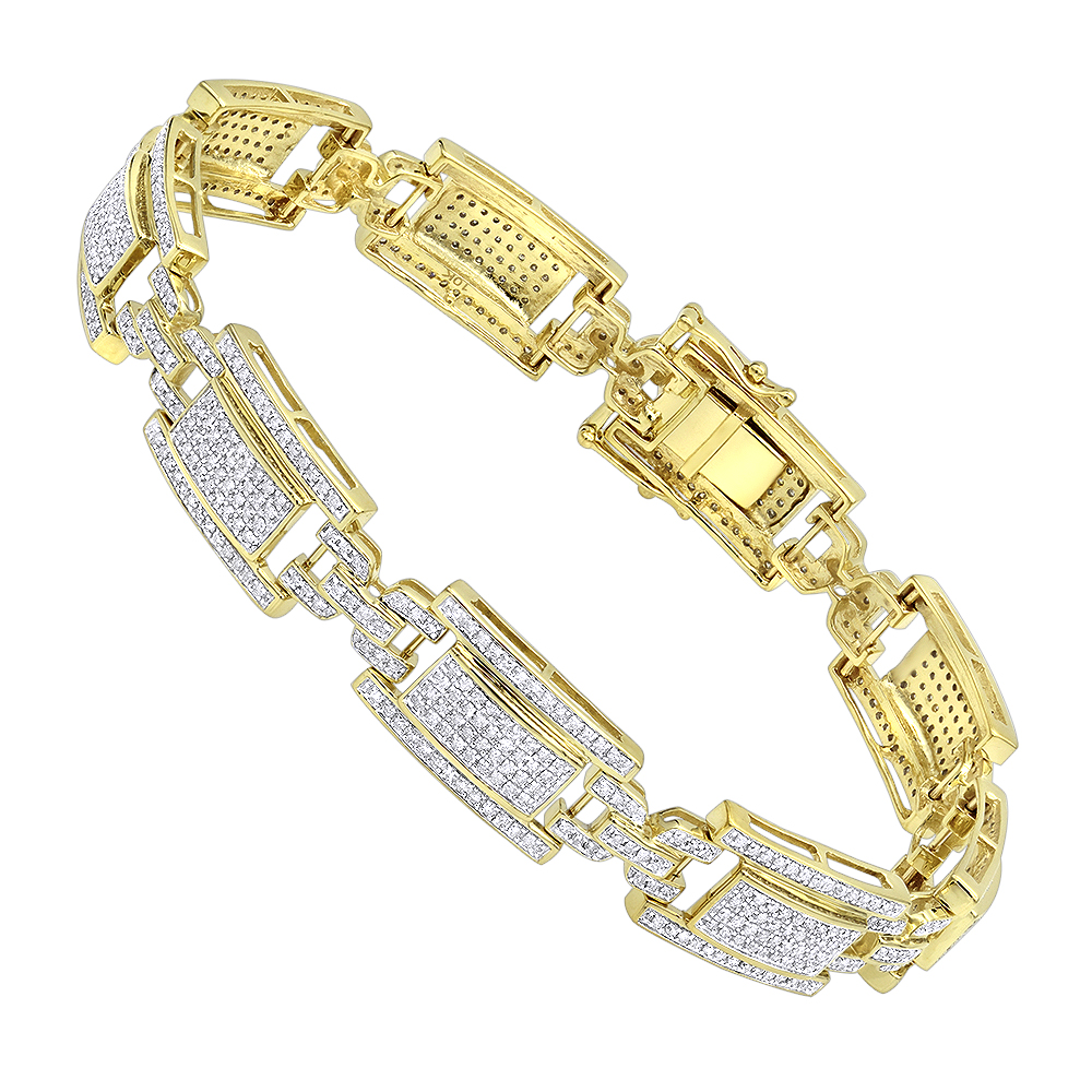 10K Gold Pave Diamond Bracelet for Men 2.75ct by Luxurman Yellow Image