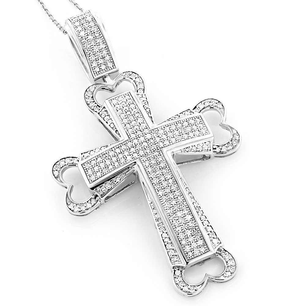 Mens Jewelry Sale: 10K Gold Pave Diamond Cross Pendant 1.73ct