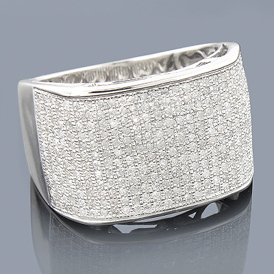 10K Gold Pave Mens Diamond Ring 1.32ct Main Image
