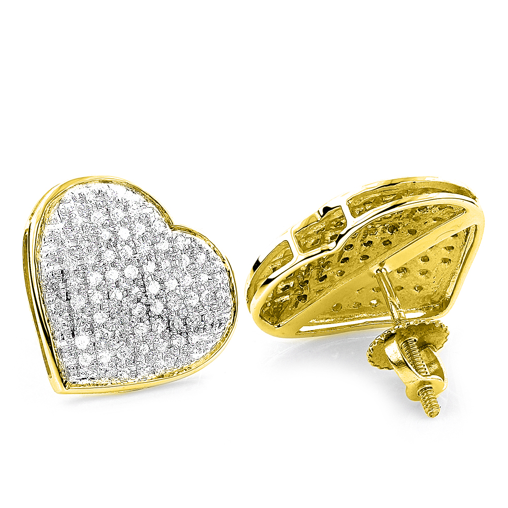 10K Gold Pave Round Diamond Heart Stud Earrings 0.65ct Yellow Image