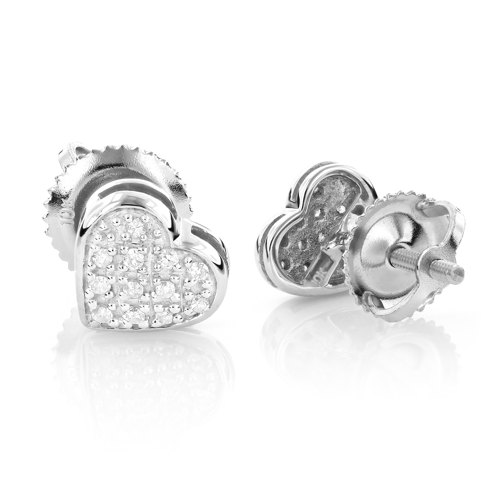 10K Gold Pave Round Diamond Small Heart Earrings 0.1ct White Image