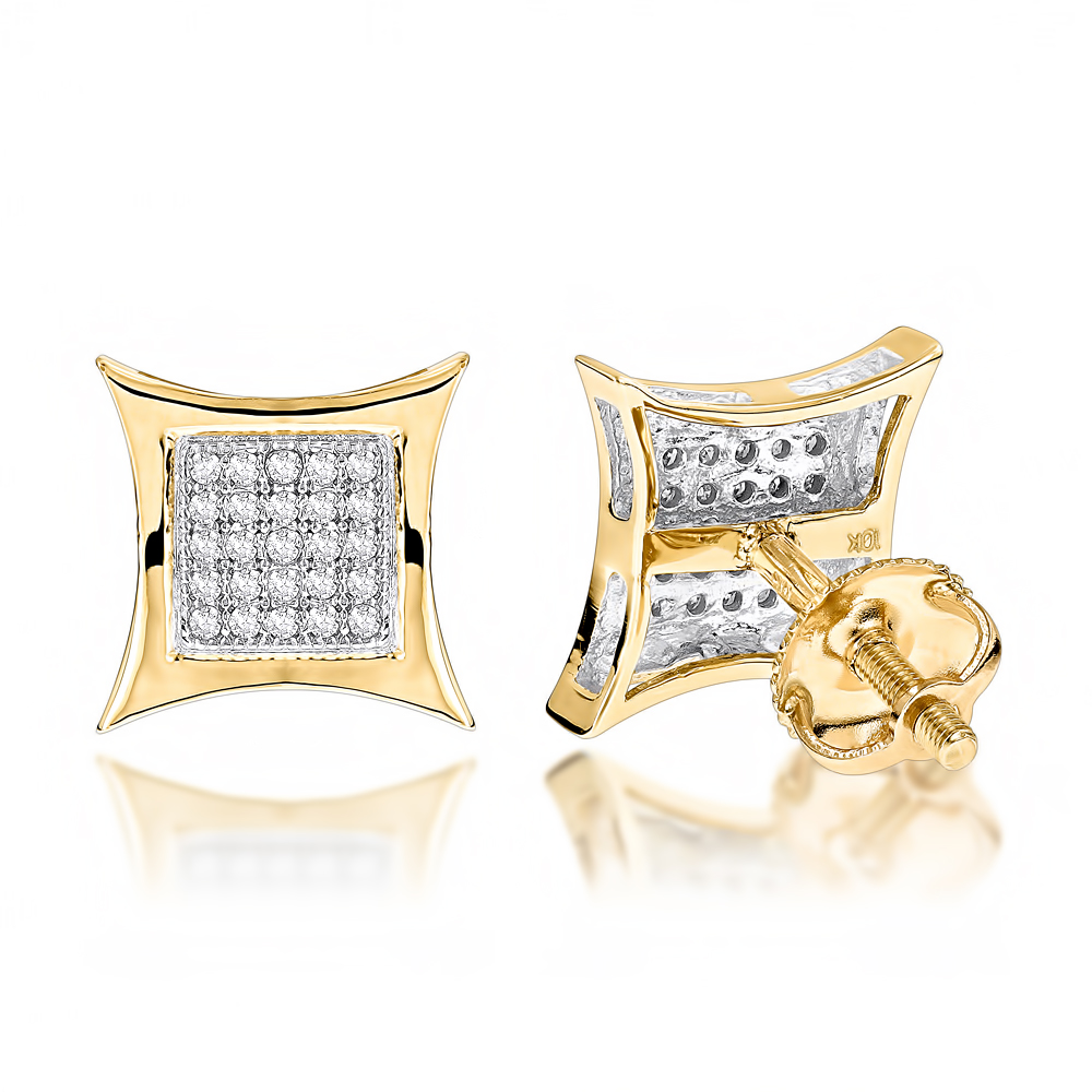 10K Gold Round Diamond Kite Stud Earrings 0.18ct Yellow Image