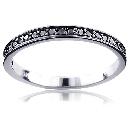 Ultra Thin 10K Gold Slim Stackable Black Diamond Womens Wedding Band 0.21ct