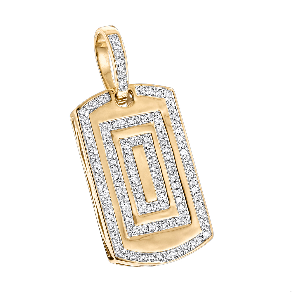 10K Gold Small Diamond Dog Tag Pendant by Luxurman