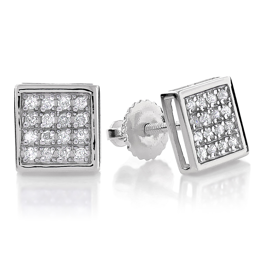 10K Gold Square Pave Diamond Stud Earrings 0.19ct White Image
