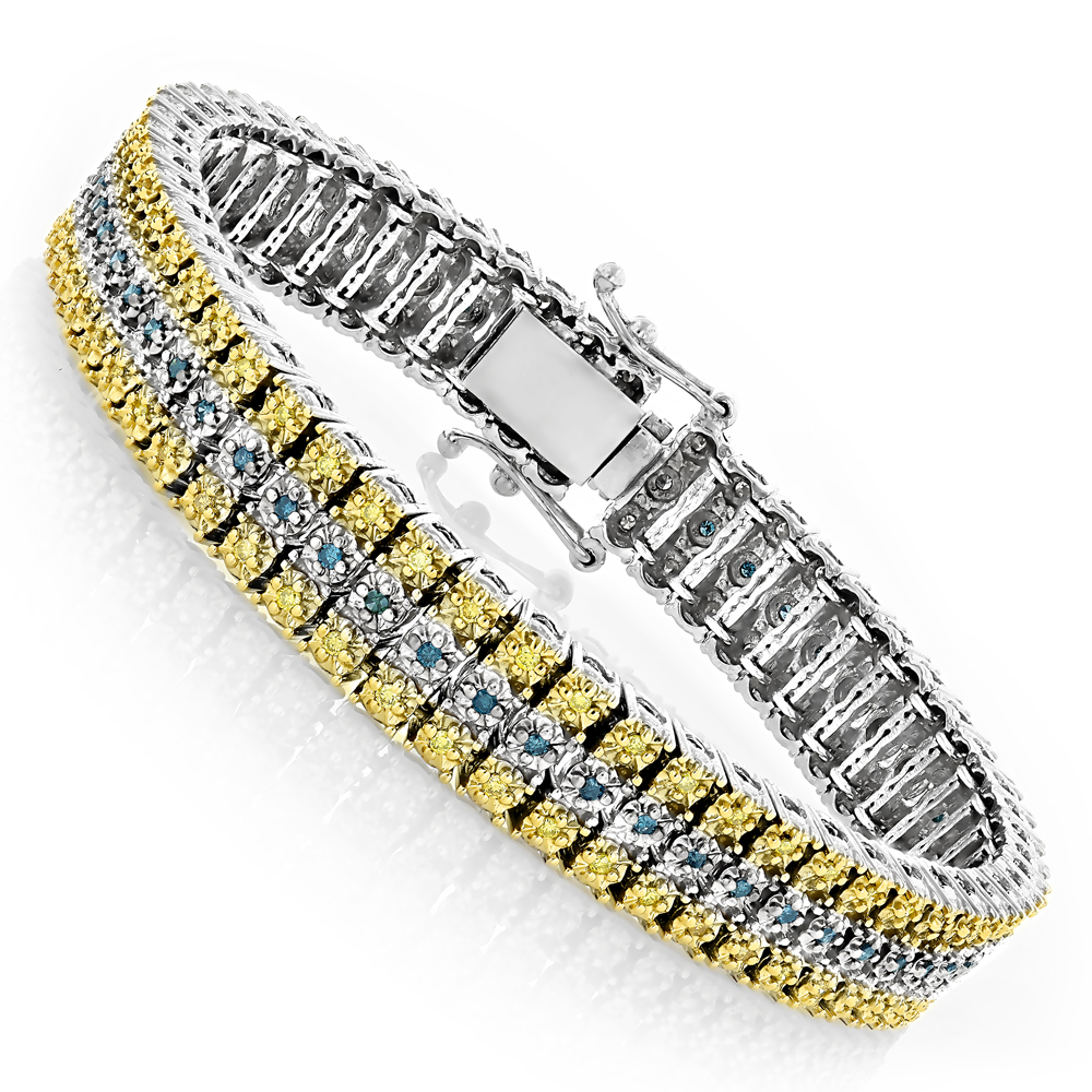 10K Gold Three Row Diamond Bracelet Blue Yellow 1.75ct Main Image