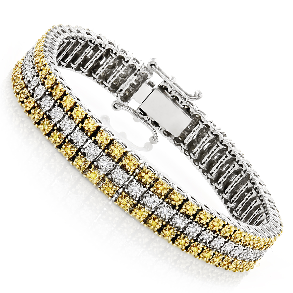 10K Gold Three Row Diamond Bracelet White & Yellow 1ct