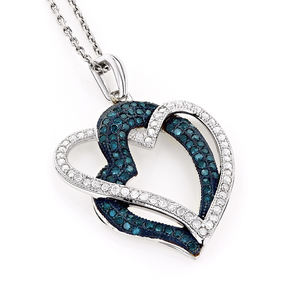 10K Gold Womens White Blue Diamond Heart Pendant 0.6ct