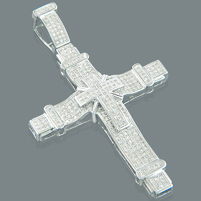 10K Mens Pave Round Diamond Cross Pendant 1.85 Main Image