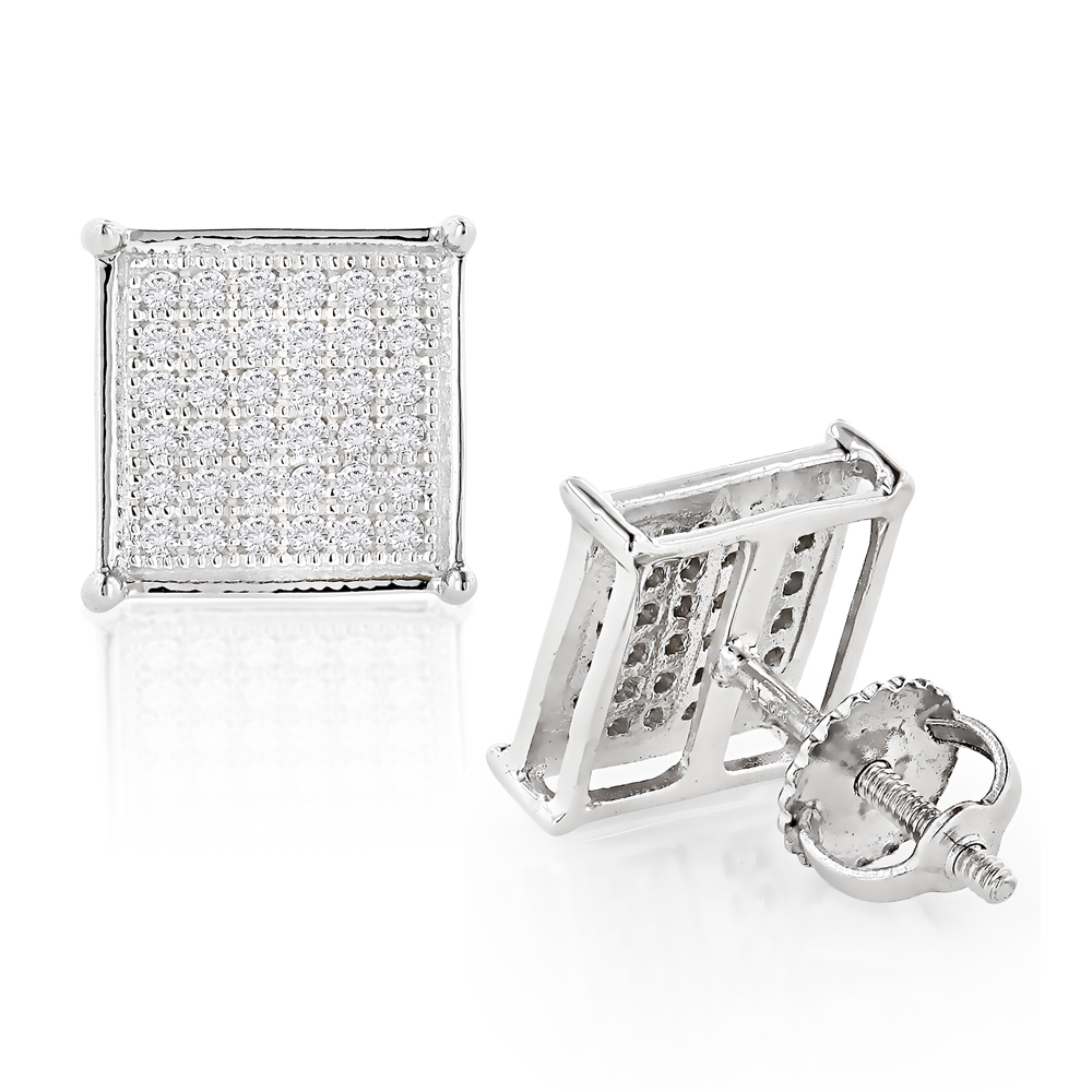 10K Pave Diamond Stud Earrings 0.27ct White Image