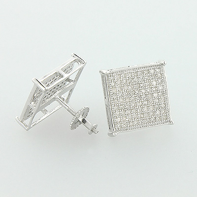 10K Pave Diamond Stud Earrings 0.56ct
