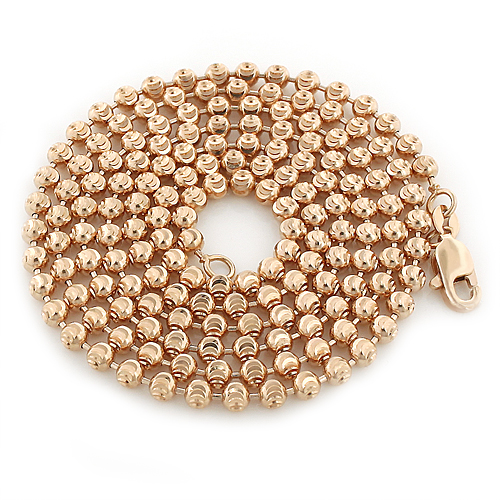 10K Rose Gold Moon Cut Bead Chain for Men 3mm 22-40in Main Image