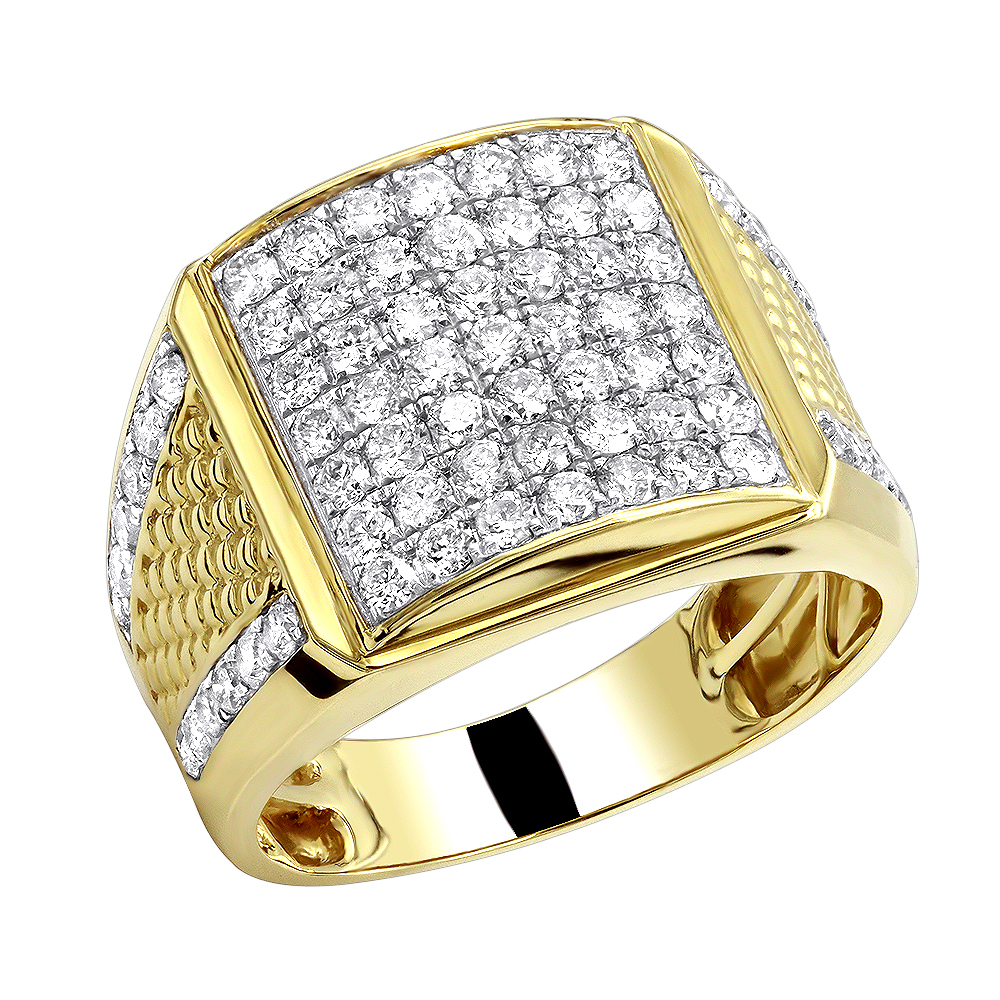 10k Solid Gold Mens Diamond Ring by LUXURMAN 2.25 Carats Yellow Image