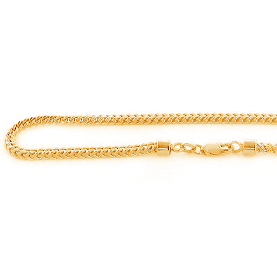 10K Solid Yellow Gold Franco Chain for Men 26in-40in 3mm