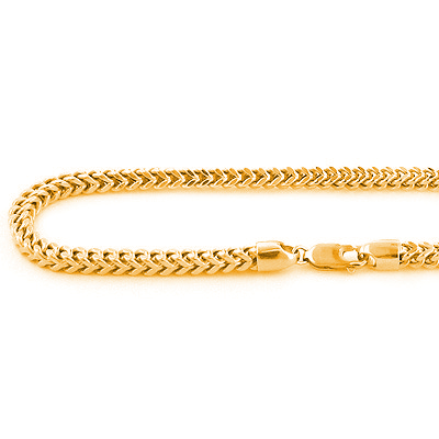 10K Solid Yellow Gold Franco Chain Necklace 26-40in,4mm