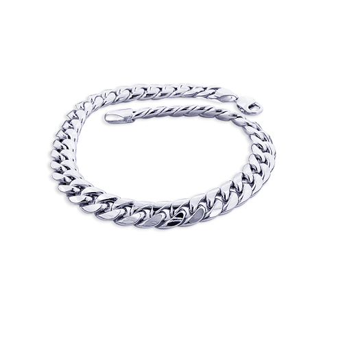 10K White Gold Miami Cuban Link Curb Chain Bracelet 9mm 7.5-9in