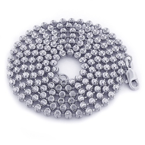 Mens 10K White Gold Moon Cut Bead Chain 3mm; 22-40in Main Image