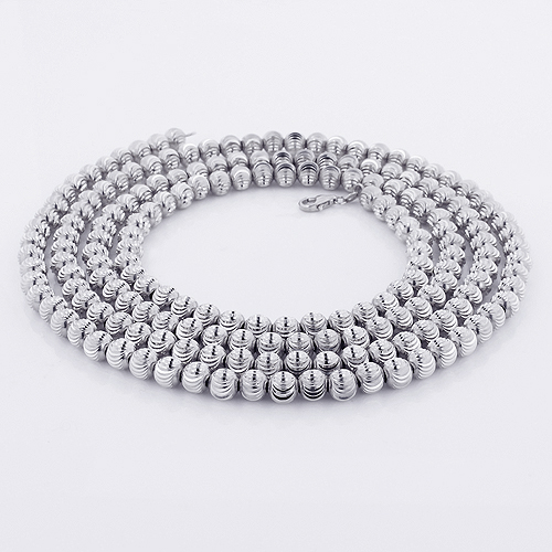10K White Gold Moon Cut Chain 5mm 22-40in Main Image