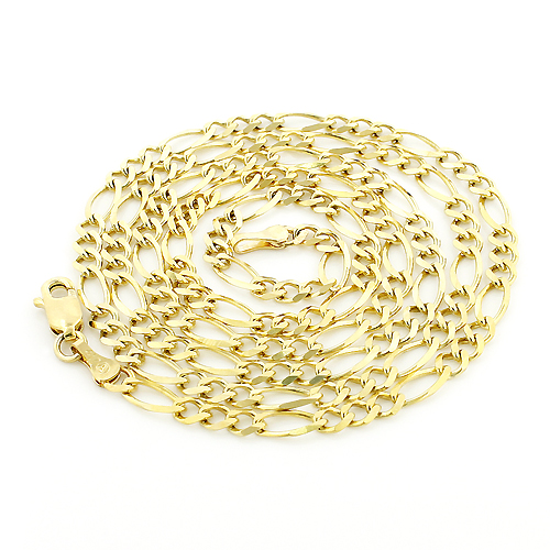 Mens Gold Chains 10K Yellow Gold Figaro Chain 3.5mm 18-24in