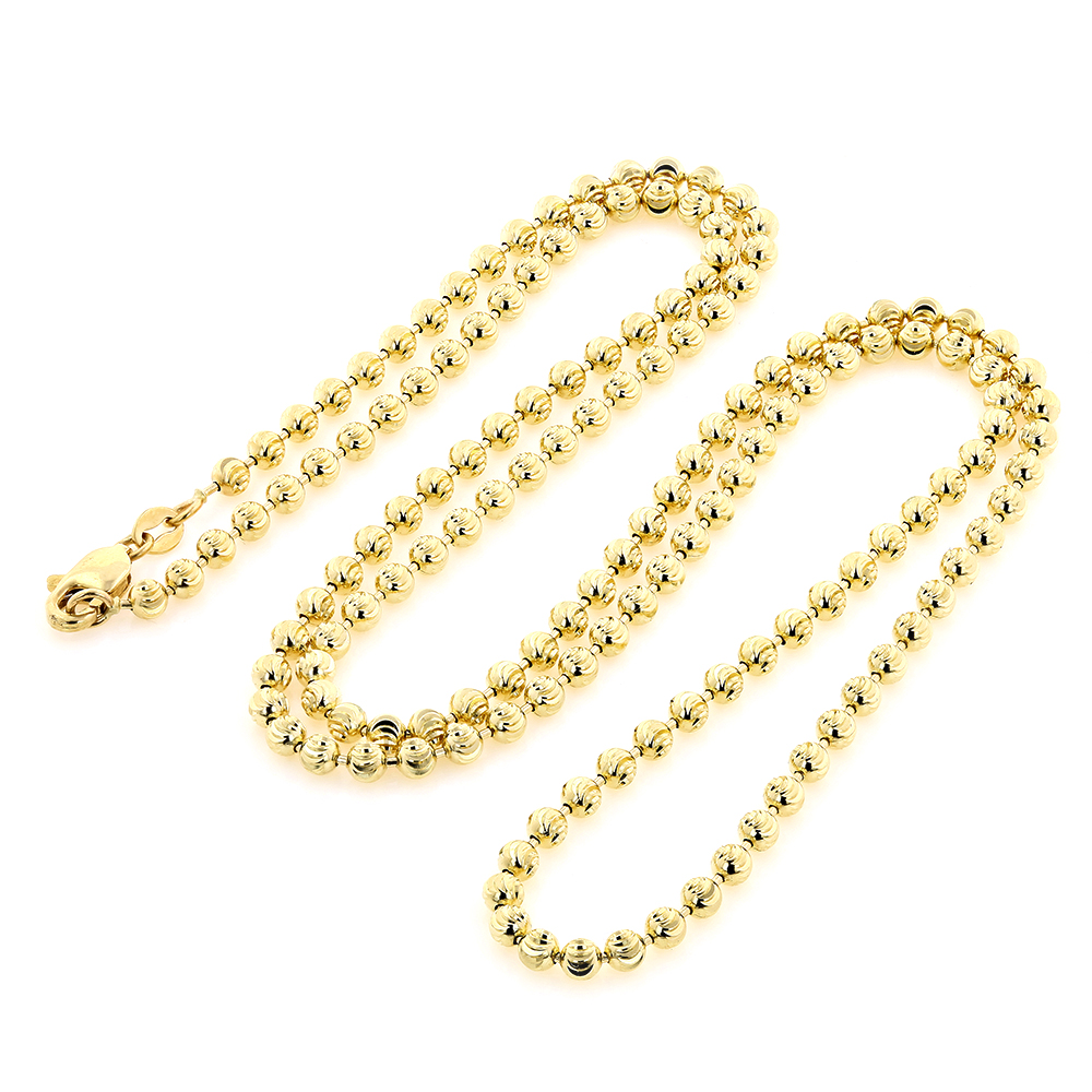10K Yellow Gold Moon Cut Bead Chain 3mm