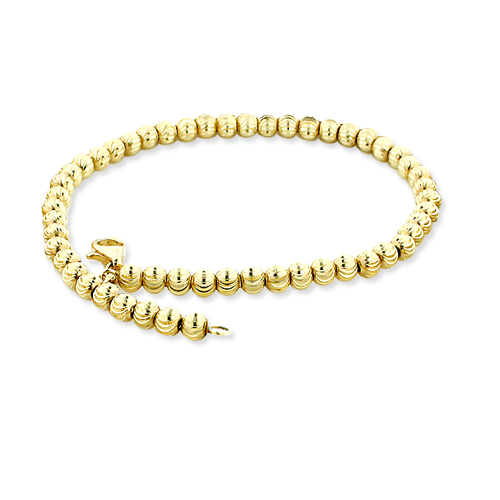 Ball Chains 10K Yellow Gold Moon Cut Chain Bracelet 5mm 7.5-9in