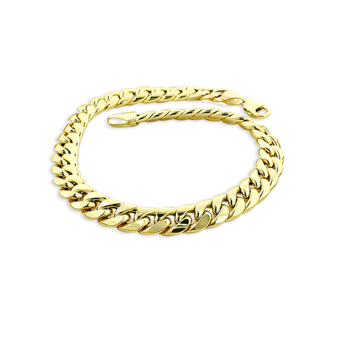 0039b08856b7c 11mm Yellow Gold Miami Cuban Link Chain Bracelet in 10K 7.5-9in