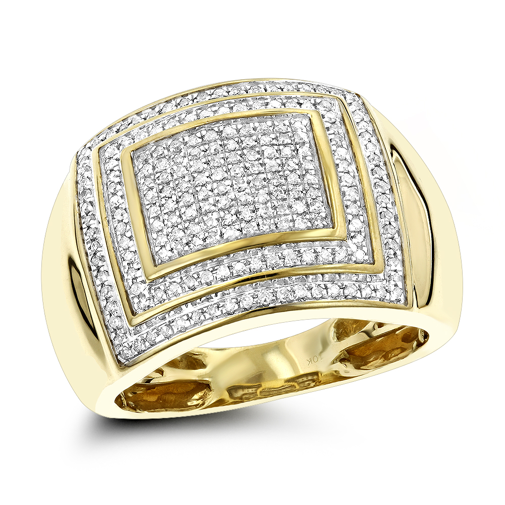 1/2 Carat 10K Gold Diamond Ring for Men by Luxurman Yellow Image