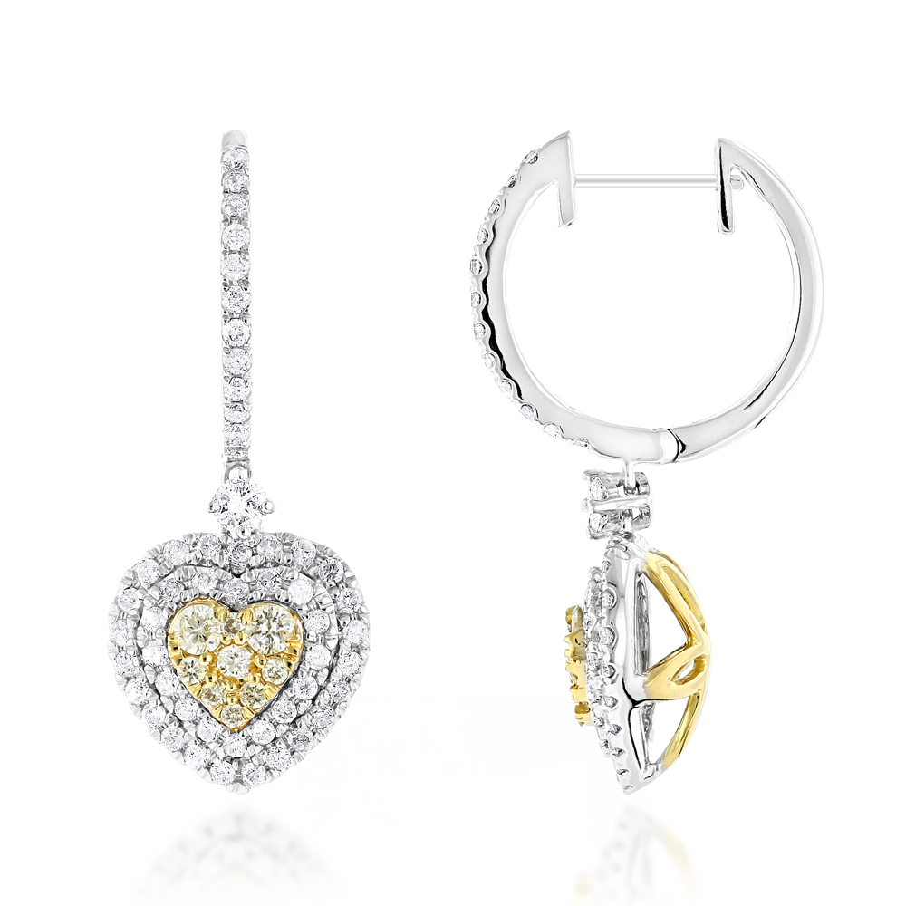 1.5ct 14K Gold White Yellow Diamonds Heart Earrings Hoop Dangles