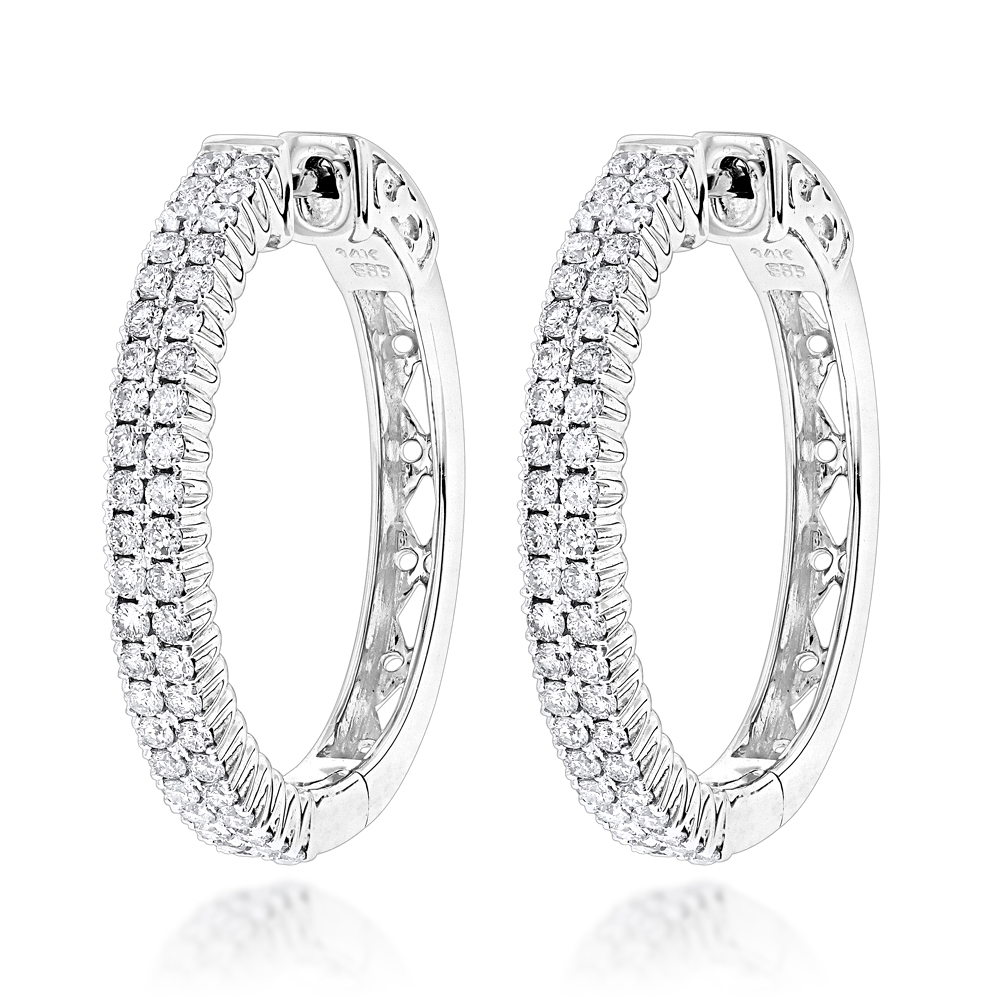 14K Gold 2 Row 1 Inch Diamond Hoop Earrings 1.26ct White Image