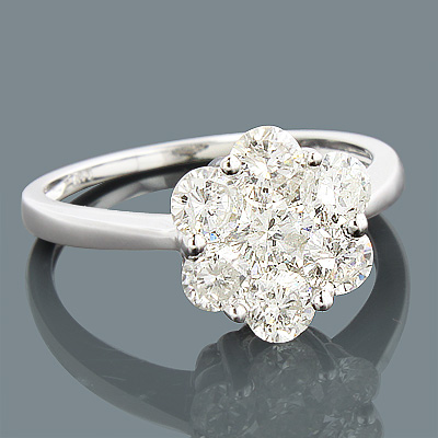 14K 7 Stone Ladies Diamond Cluster Ring 1.65ct Main Image