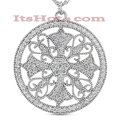 14K Antique Style Diamond Pendant 0.89ct Main Image