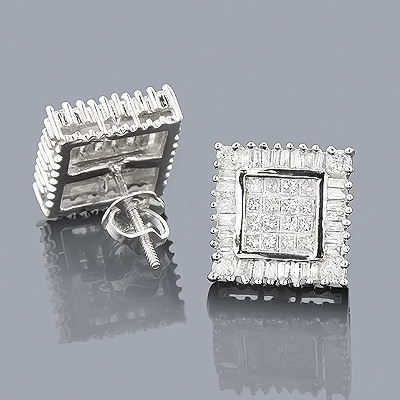 14K Baguette Princess & Round Diamond Earrings 1.01ct Main Image