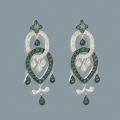 14K Blue Diamond Chandelier Earrings 0.96ct Main Image