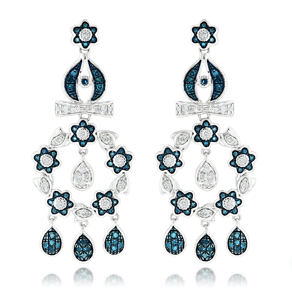 14K Blue Diamond Flower Chandelier Earrings 1.61ct White Image