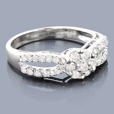 14K Cluster Diamond Engagement Ring 0.68ct Main Image