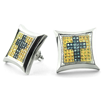 14K Cross Fancy Color Diamond Stud Earrings 0.85ct Main Image