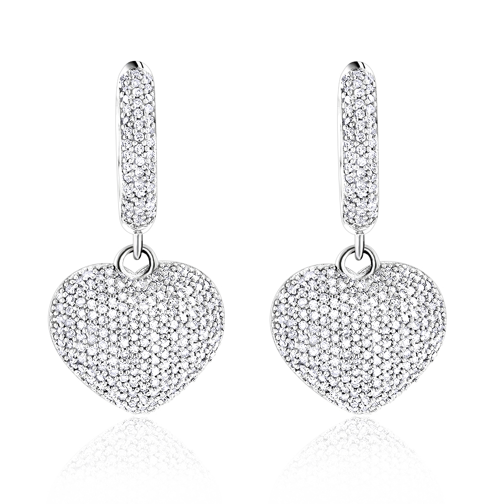 14K Dangle Diamond Heart Earrings 1 ct White Image