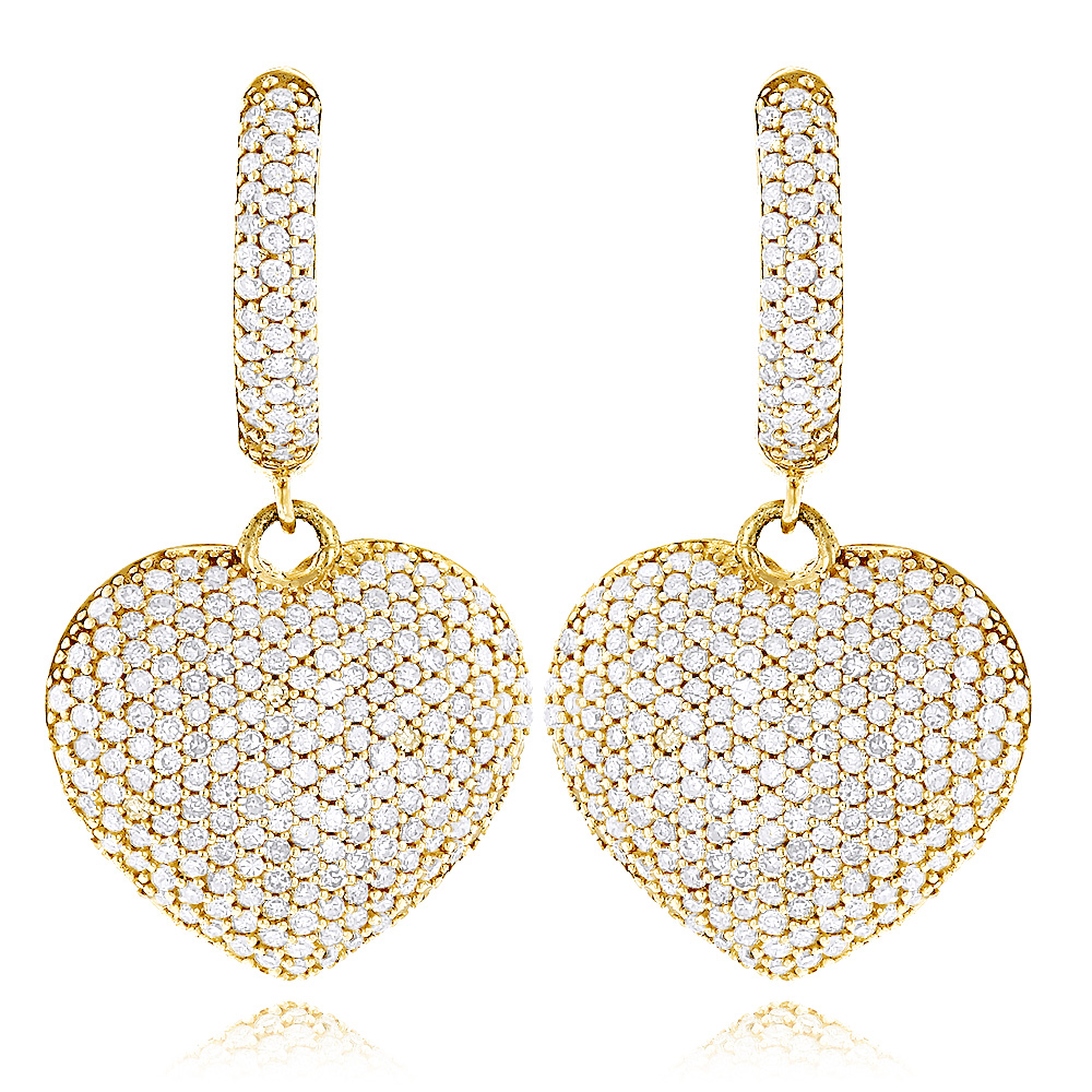 14K Dangle Diamond Heart Earrings 1.95ct