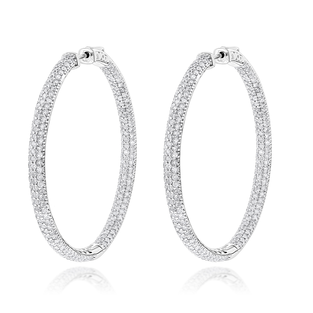 14K Gold Dazzling 2 inch Diamond Hoop Earrings Inside Out 7ct White Image