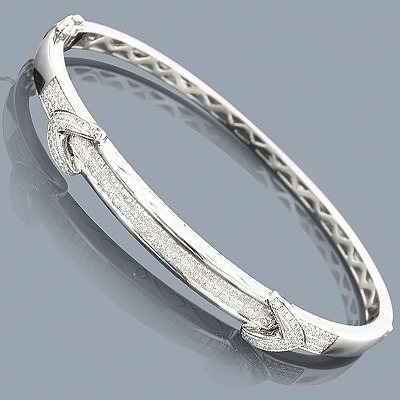14K Designer Diamond Bangle Bracelet 1.38ct