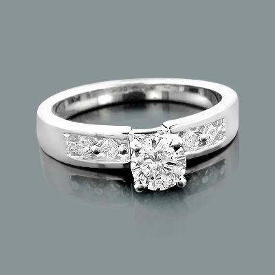 Affordable 14K Gold Princess and Round Diamond Engagement Ring 0.62ct Body Image